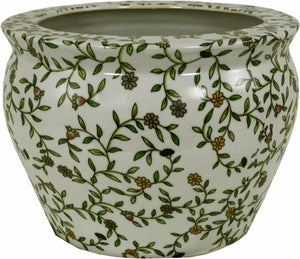 Vintage ceramic plant pot green and white design