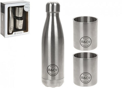 Insulated bottle and 2 x SS beakers gift box 500ml