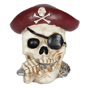 RED PIRATE SKULL MONEY BANK