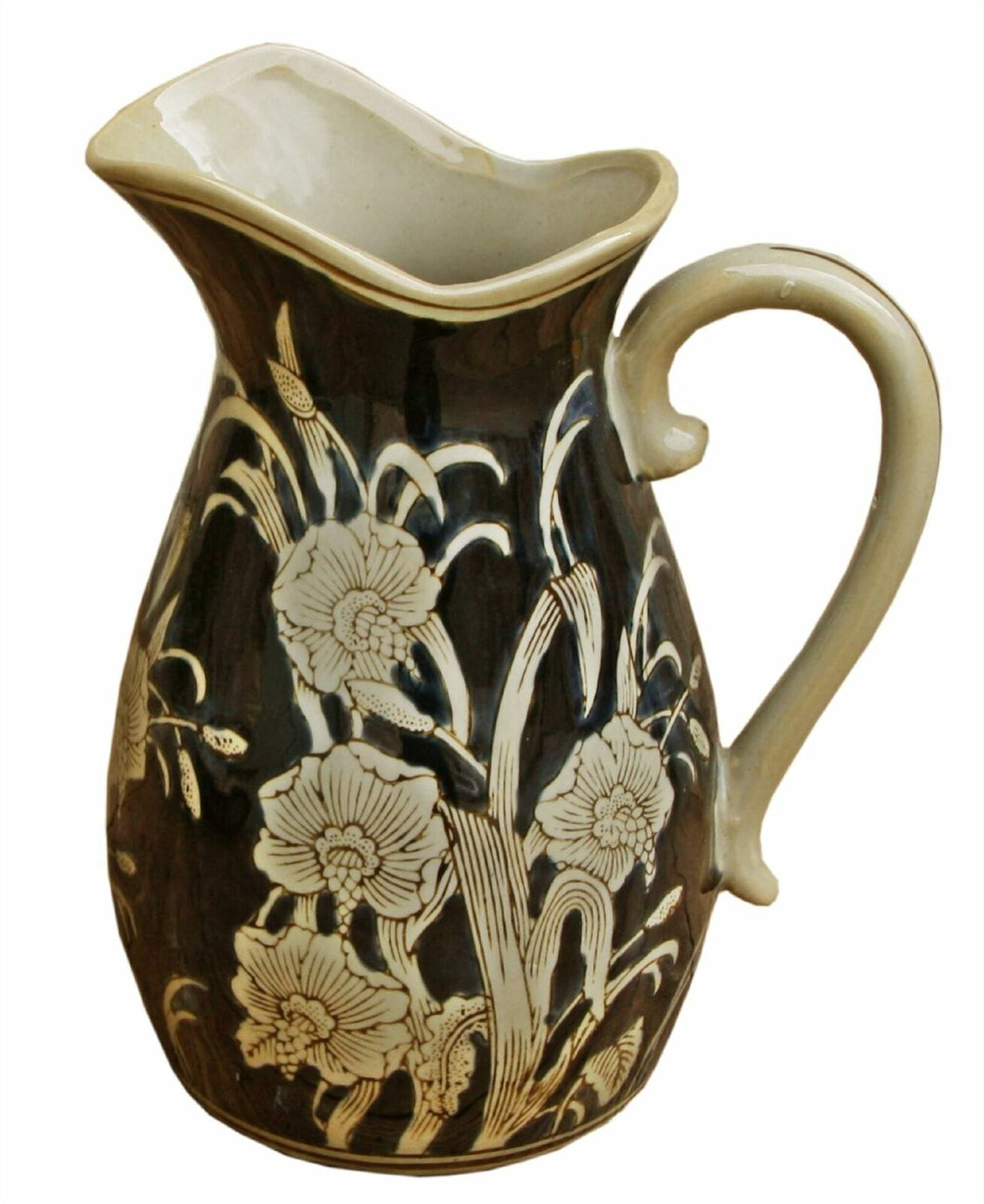 Ceramic embossed jug style vase regal design