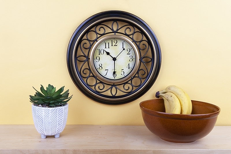 SCROLLED ROUND WALL CLOCK