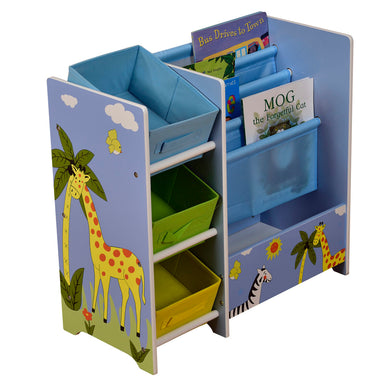 Safari book display with storage and fabric bins