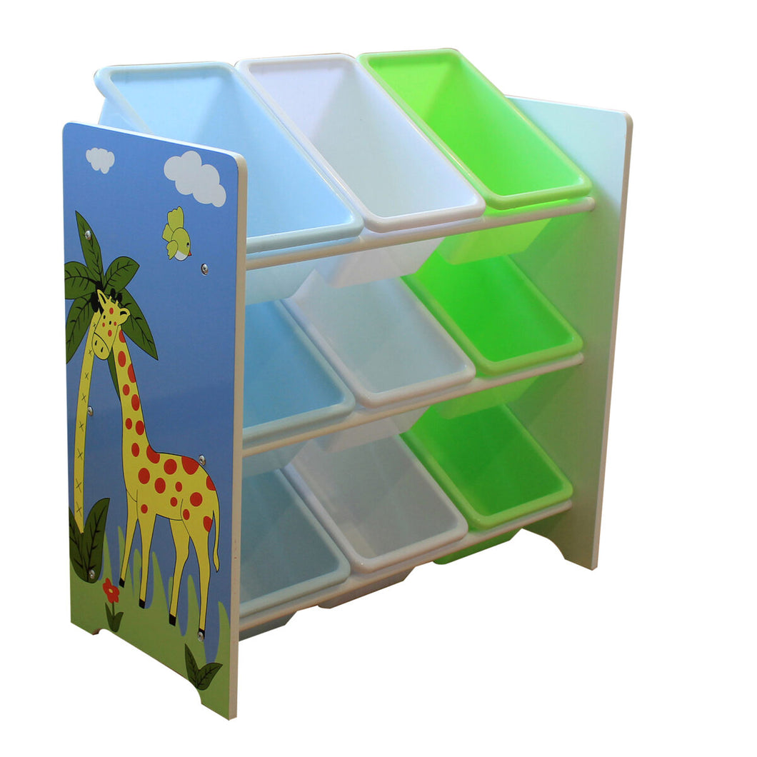 Safari storage shelf with 9 plastic bins