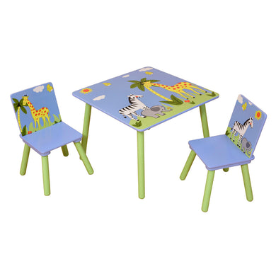 Safari square table and 2 chairs set