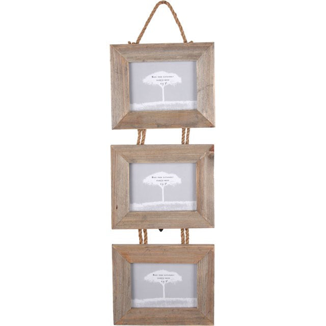 TRIPLE WOOD PHOTO FRAME
