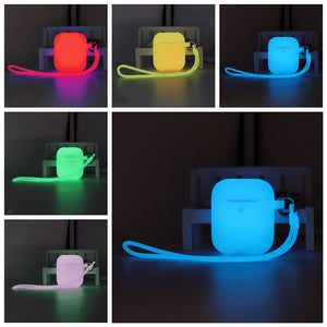 Luminous Silicone Case with Hooks For Airpods 1/2