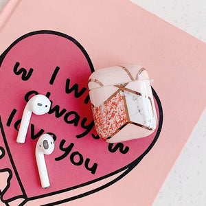 Cute Electroplated Marble Airpod Case