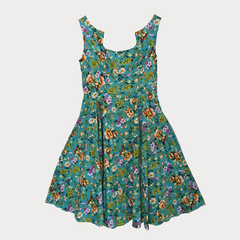 Plus size swing dress in turquoise with floral print