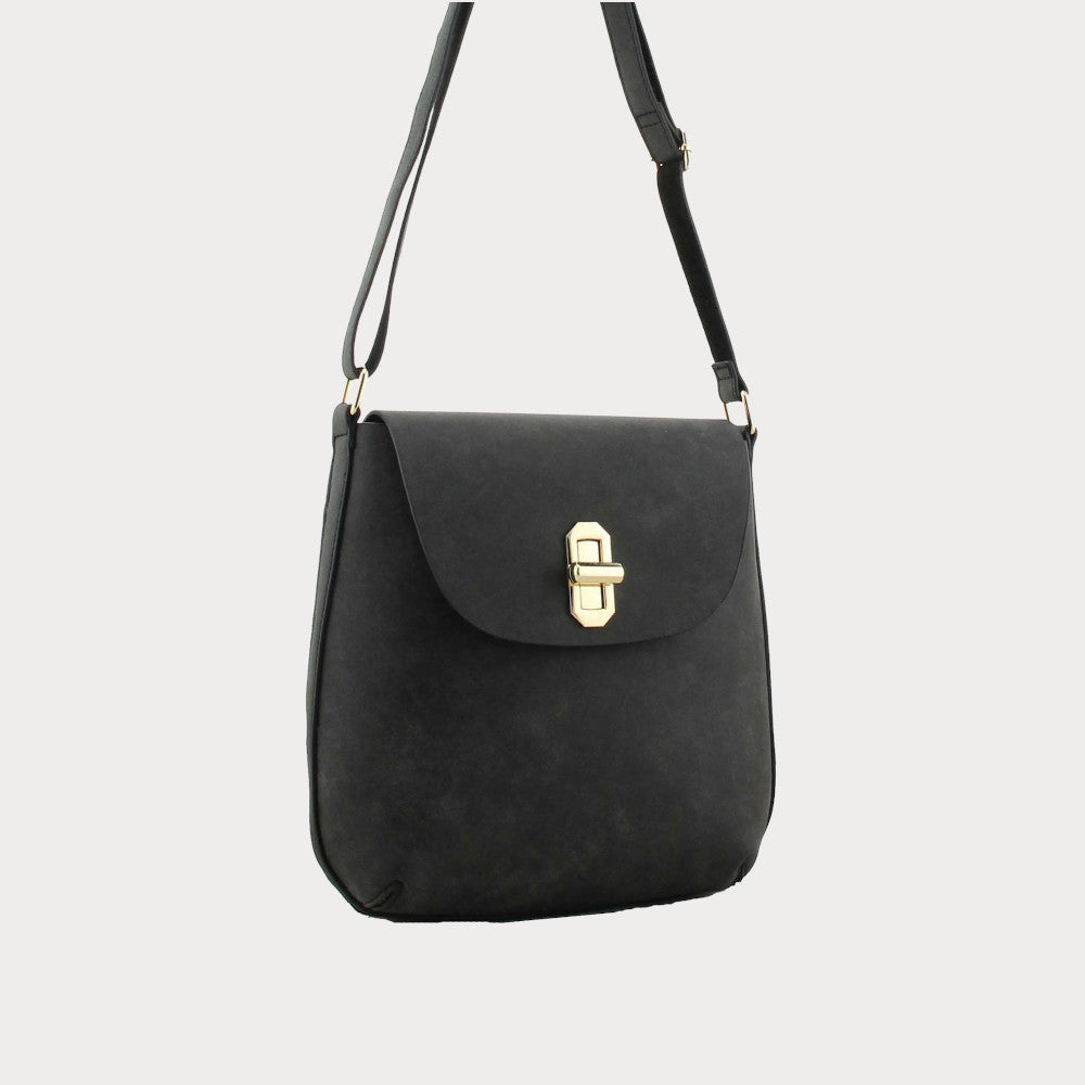 Black twist clasp bag