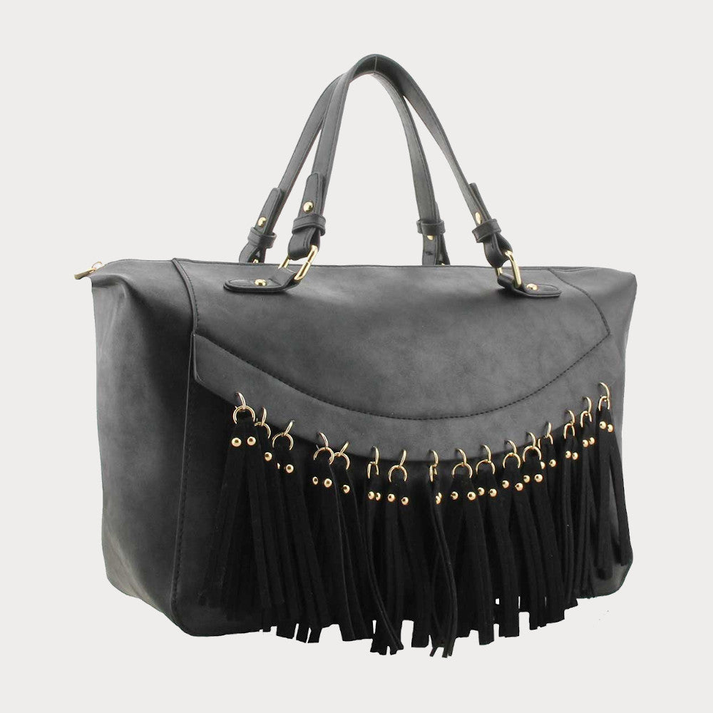 Black tassel shoulder bag
