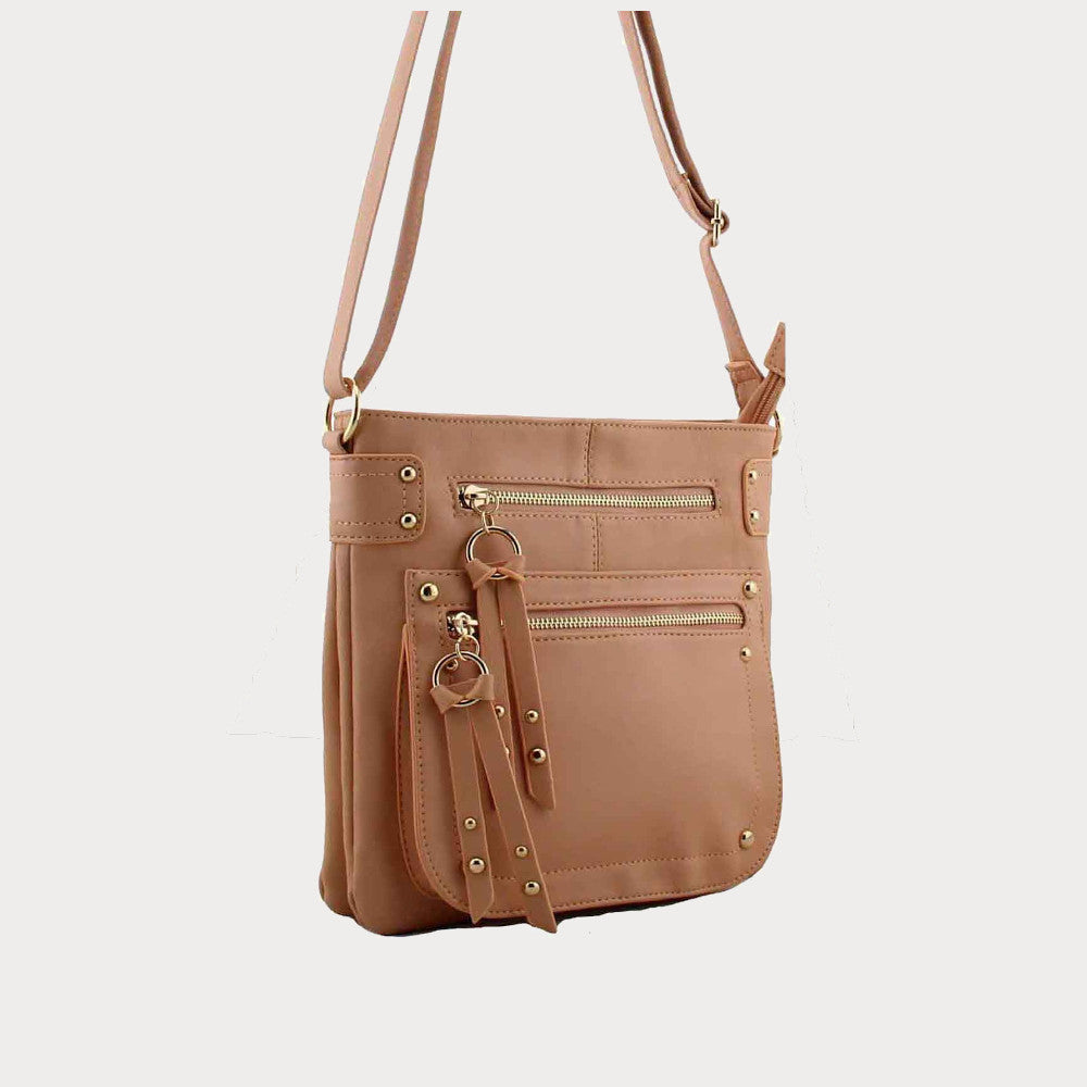 Beige cross body handbag