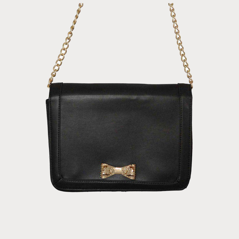 Black shoulder bag with bow