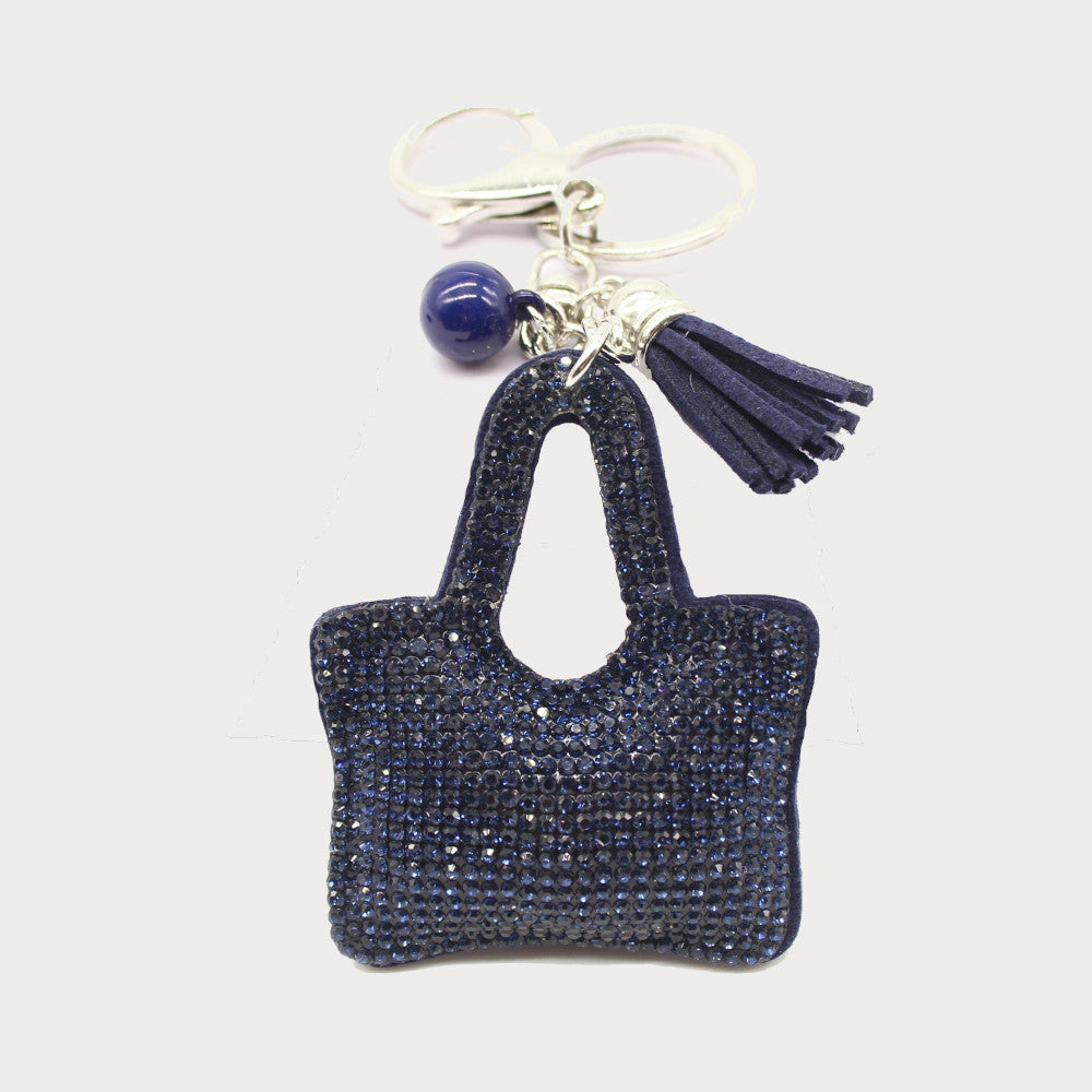 Black diamante handbag charm