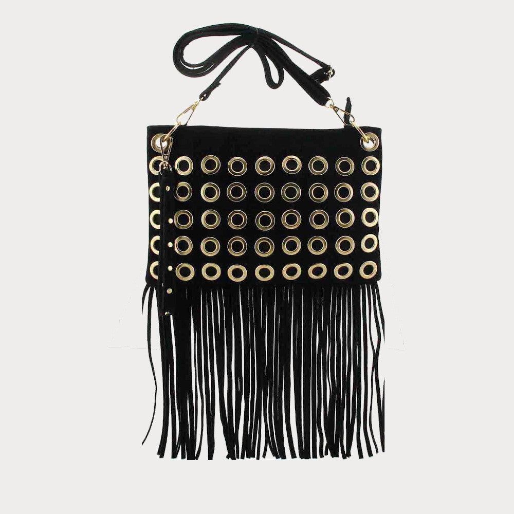 Black fringed shoulder bag
