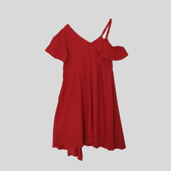Red plus size dress with one shoulder
