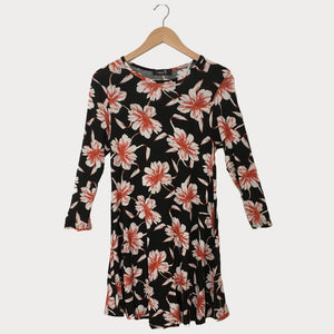 Black Floral Print Swing Tunic