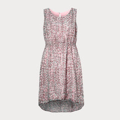 Pink plus size dress with dipped hem