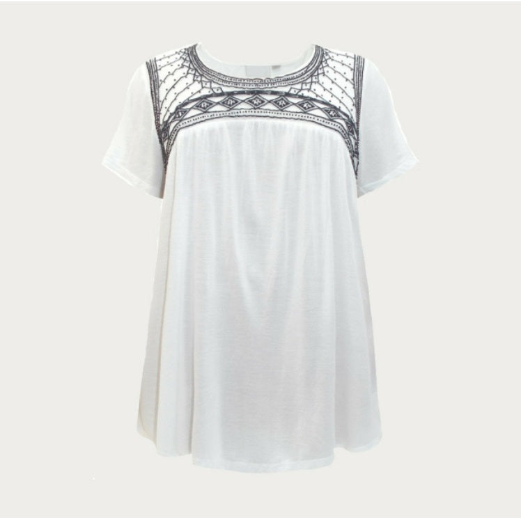White Bead Embellished Short Sleeve Top