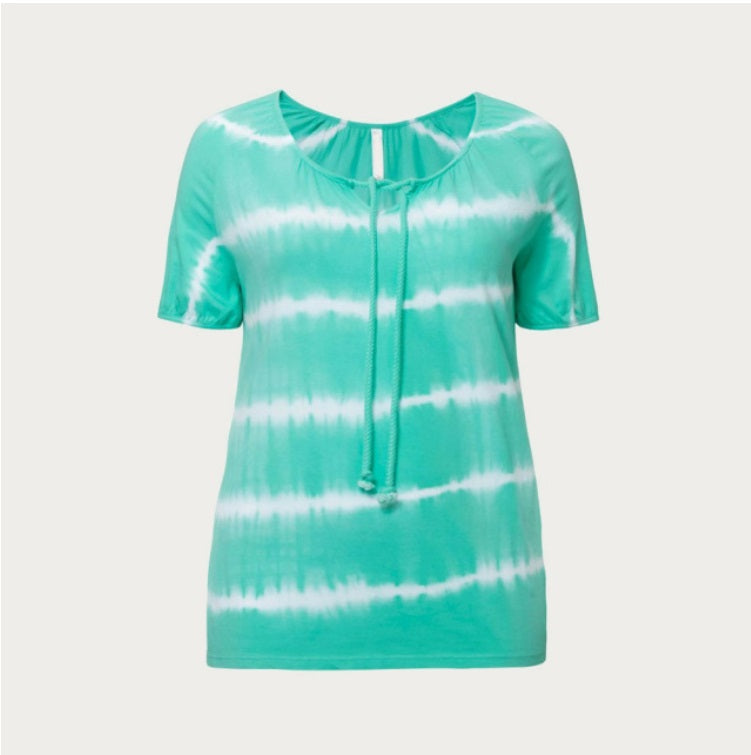 Green Striped Tie Dye Top