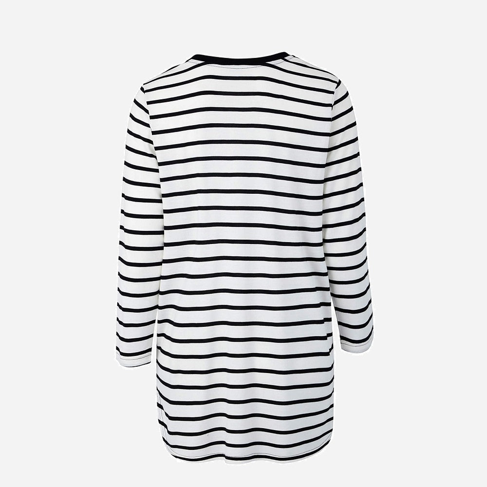 Black White Striped Long Sleeved Top