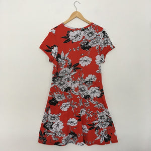 Red Floral Print Crossover Dress