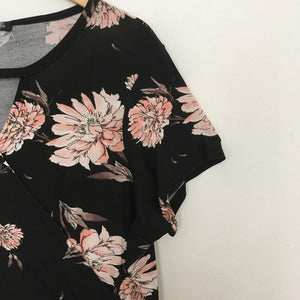 Pink and Black Floral Crossover Dress