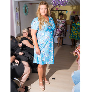 Light Blue Print Crossover Dress