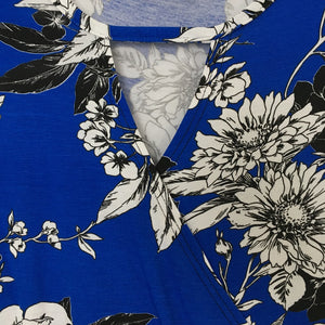 Blue Floral Print Crossover Dress