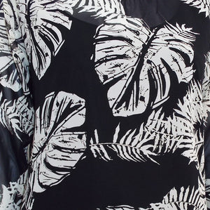 Black and White Leaf Print Top