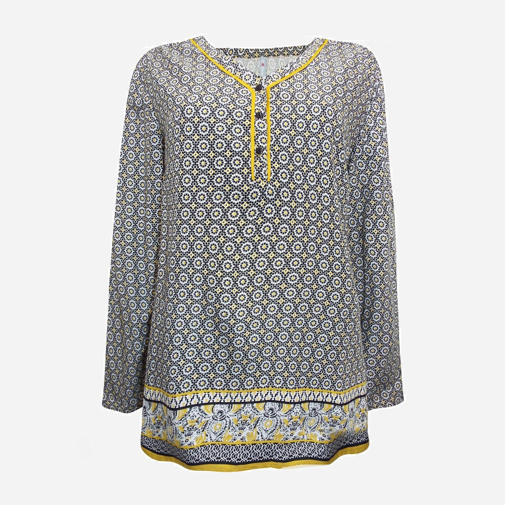 Grey and Yellow Print Blouse