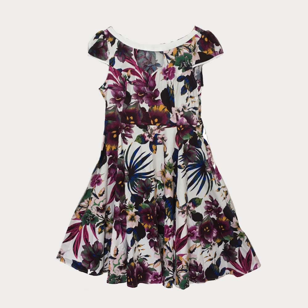Pansy Print Swing Dress with Wide Neckline