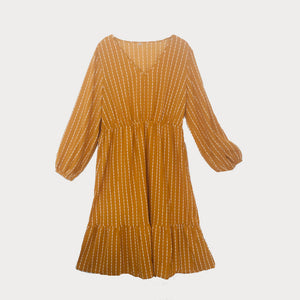 Ochre Striped Midi Dress