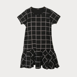 Black and Grey Checked Mini Dress