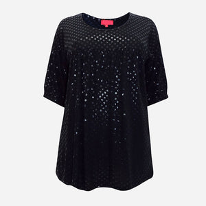 Black Sequin Print Top
