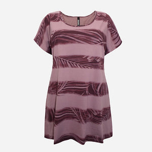 Purple Leaf Print Striped Top