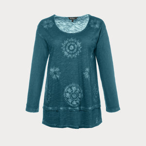 Long sleeved petrol green cotton tee featuring an intricate tie dye pattern.