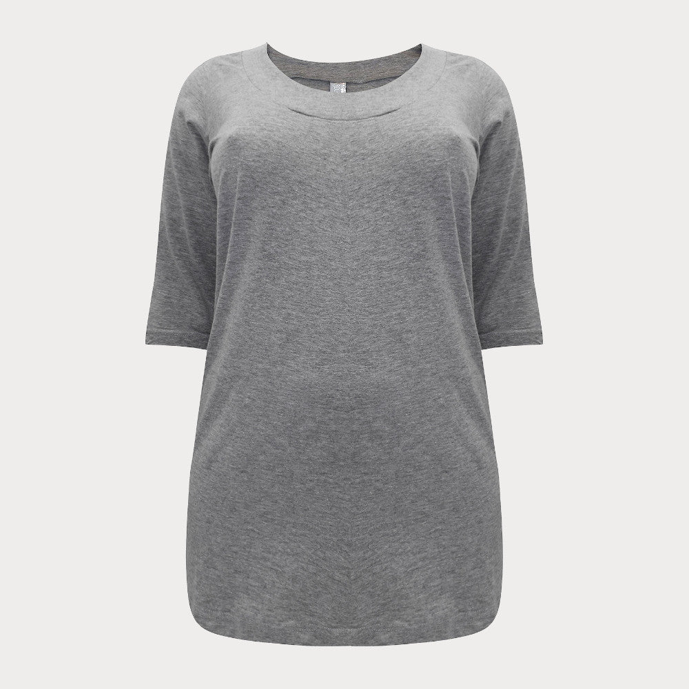 Grey Scoop Neck Top