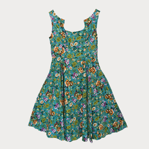 Turquoise Summer Flower Print Swing Dress