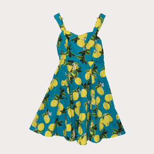 Lemon Print Sun Dress with Swing Skirt