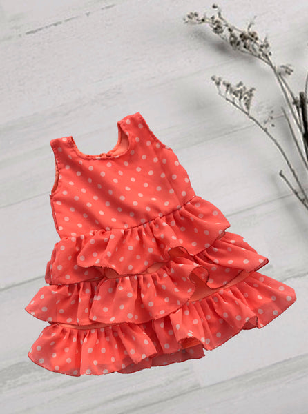 Orange Flit Frock With White Polka Dots