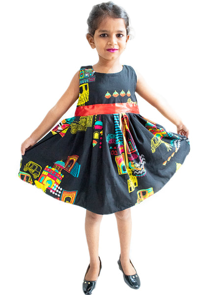 Black Flip Frock with colourfull Digital Print