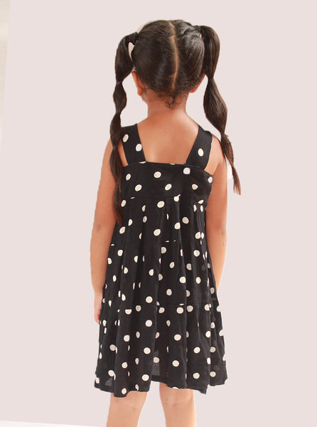 Black White Dotted Mini Length Frock