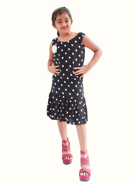 Black White Dotted knee length Frock