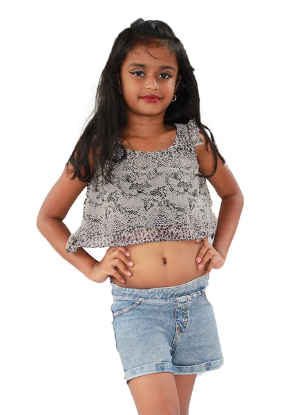 Cream crop top with black leopard pattern