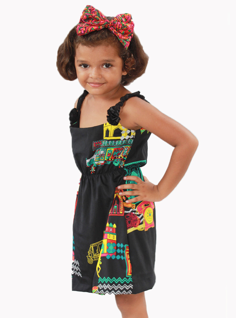 Black sleeveless frock with colourful digital print