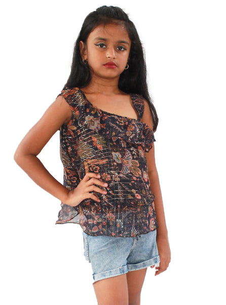 One-side shouldered Navy blue flower print top