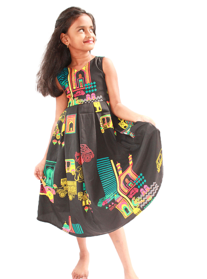 Black Simple Frock with Color full Digital Print