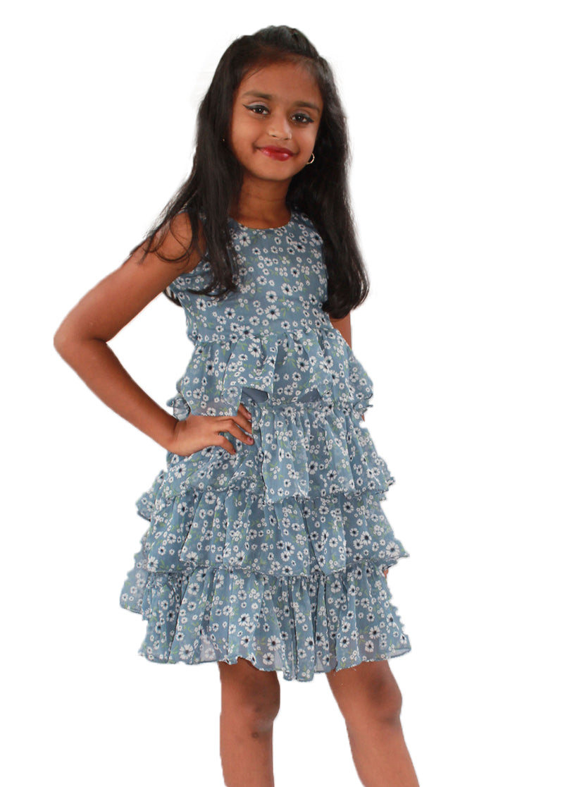 Teal Blue Colour Frock with Flower Patterns