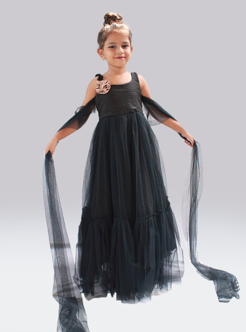 Black colour evening gown
