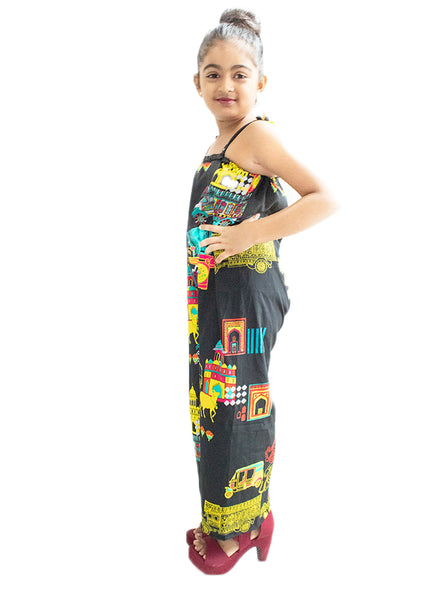 Black Jump Suit with Digital Print